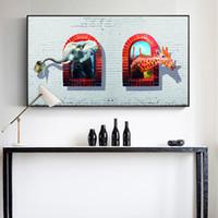 bebek hayvanlar çizgi film resimleri toptan satış-1 Adet Fil Ve Zürafa Karikatür Duvar Posterler Ve Tuval Baskılar Soyut Hayvanlar Bebek Odası Için Modern Duvar Resimleri Hiçbir Çerçeve