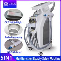 máquinas de eliminación de tatuajes con láser yag al por mayor-5 en 1 multifunción fuerte OPT Energía Eliminación SHR IPL depilación láser ND YAG láser máquina de la belleza tatuaje IPLRF ND YAGElight