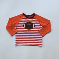camisetas naranja de fútbol americano al por mayor-recién llegados bebé otoño niños manga completa boutique fútbol americano rojo naranja azul marino rayas top niños camiseta ropa algodón
