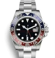 Wholesale Watch - Hot AAA luxury Automatic Mens watch GMT Lum red blue Ceramic Bezel watch Stainless Sapphire original clasp Mens Watches free shipping