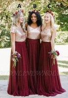 Wholesale beautiful gray bridesmaid dresses for sale - Group buy Beautiful Sequins Chiffon Burgundy Bridesmaid Dress A Line Pleats Floor Length Maid of Honor Gowns Country Wedding Guest Dress