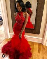 kızlar için siyah gece önlükleri toptan satış-Seksi Halter Tül Katmanlı Ruffles Denizkızı Gelinlik Modelleri Siyah Kız In Red 2020 Dantel Aplike Boncuklu Backless Örgün Akşam Parti Gowns