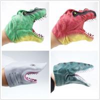 tier splat ball großhandel-Neue 2 Farben Baby Handpuppe Streich Spielzeug Jurassic Dinosaurier Tyrannosaurus Rex Hai Hände Spielzeug Kinder Spielzeug
