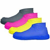 motos de latex al por mayor-1 par de zapatos de lluvia impermeables de látex reutilizables de goma Cubre botas de lluvia antideslizantes Botas de moto para moto Zapatos Accesorios