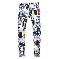 homens pintados calças casuais venda por atacado-Homens 3D imprimir Hip Hop denim Calças Nova Marca de Moda homem calça casual 3D Pintado Jeans Colorido Branco Skinny algodão Blend calças compridas