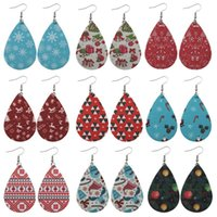 Wholesale american christmas snowmen resale online - Christmas Double Sided PU Leather Earrings Dangle Printing Snowman Gloves Hats Stripe Eardrop Waterdrop Earring For Women Designer Jewelry