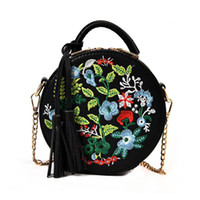 Wholesale hot tassel handbags for sale - Group buy HEBA Hot Sale Women s Retro embroidery Flowers handbag PU leather tassel shoulder bag for ladies Evening Round Bag female