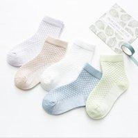 yeni doğmuş yumuşak çoraplar toptan satış-2019 çocuk Çorap Bahar Yaz Yeni Erkek Kız Pamuk Ince Nefes Bebek Örgü Çorap beyaz yumuşak yenidoğan bebekler için bebek