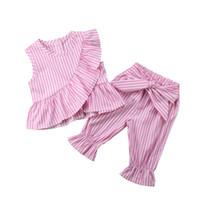 mädchen harem hosen sets großhandel-1-10Y Baby Mädchen Kinder Kleidung 2 stücke Sets Sleeveless Rüschen T-Shirts Tops + Bogen Pluderhosen Beiläufige Gestreifte Lose Kleidung Outfits