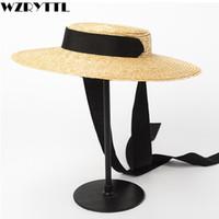 chapéu de abas largas de palha preta venda por atacado-2019 Wide Brim Boater Hat 10 cm 15 cm Borda De Palha Chapéu Plana Mulheres Verão Branco Laço de Fita Preta Sol Praia Cap