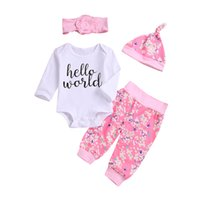 Wholesale hello girl hat for sale - Group buy Hello world baby girl flower clothing romper pants headband hat piece set outfit long sleeve pink kids clothes boutique M