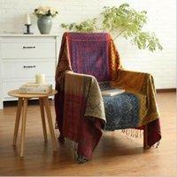 baumwollwebartteppiche großhandel-Baumwollgewebte Sofa-Bett-Wurf-Decke Tagesdecke-Sofabettteppich BOHO-ROT