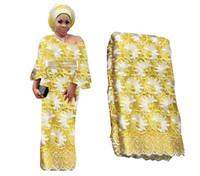 gelber tüll großhandel-2020 Spitze Stoff Hohe 130 cm Qualität 3d Afrikanische Spitze Stoff Stickerei Gelb Tüll Fabrice Für Nigerianischen Hochzeit