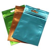 ingrosso sacchetti di regalo in plastica variopinta-Front Clear Plastic Back Matte Colorful Foil Bag Sacchetto con chiusura a cerniera Sacchetto di gioielli Regali artigianali Mylar Storage Pouch Hang Hole