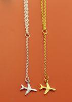 ingrosso ciondoli per aeromobili-Collana in oro Aereo Aereo Aircraft catena collana ciondolo a strati per le donne piccolo Dainty collana