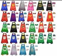 máscara dos super heróis dos miúdos venda por atacado-28 estilos one-layer incluem logotipo 70 * 70 CM Super hero Capes e conjunto de máscara de super-heróis cosplay capas + máscara máscara de capa de Halloween para Crianças ST410