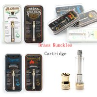 Wholesale dual ceramic resale online - Brass Knuckles Vape Pen Cartridges ml Gold Glass Tank Thread Thick Oil Dual Cotton Ceramic Coil Cartridges E cigs With Acrylic Box