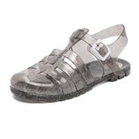 f5645ba46 Jalea sandalias zapatos de verano mujer transpirable sandalias hebilla  zapatillas exteriores zuecos planas niñas mulas de plástico sandalias mujer  2019