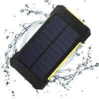 usb externes akku-ladegerät großhandel-Solar Power Bank 10000mAh Doppel USB Solar Ladegerät Externer Akku Tragbares Ladegerät Bateria Externa Pack für Handys