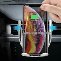 elma araba telefonu tutacağı toptan satış-10 W Otomatik Sıkma Kablosuz Araç Şarj Qi Hızlı Şarj montaj dirseği iphone xs için xr x 8 samsung s10 s9 s8 hava firar telefon tutucu