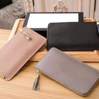 Wholesale phone wallet keys holder resale online - Classic luxury designer brand ladies wallet leather fashion clutch bag classic long tassel wallet phone bag