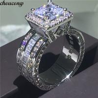 anillos de boda celtas vintage al por mayor-Choucong Vintage Court Ring 925 plata esterlina princesa corte 5A cz piedra compromiso boda anillos de boda para las mujeres regalo de la joyería
