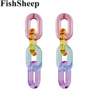 Wholesale acrylic chandelier chain for sale - Group buy FishSheep Statement Clear Acrylic Chain Long Earrings For Women Resin Geometric Chain Drop Earrings Boho Party Jewelry Brincos