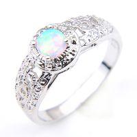 gümüş takı satıcıları toptan satış-Luckyshine YENİ Best Seller 10 Adet / Lot Beyaz Opal Taşlar 925 Gümüş Kadın nişan yüzüğü Takı Boyut 7-8