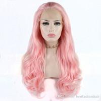 ingrosso capelli corpo media lunghezza media-Parrucca sintetica capelli per donna bianca pesca rosa medio lunghezza onda del corpo parrucca sintetica anteriore parrucche capelli fibra resistente al calore con i capelli del bambino