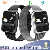 браслет bluetooth часы для iphone оптовых-P68 Умный Браслет Фитнес-Трекер Bluetooth Браслет Артериального Давления Водонепроницаемый Умные Часы для iPhone Android Мобильных Телефонов с Коробкой