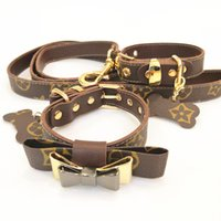 Wholesale designer dog collars leashes resale online - Bow Dog Collars Leather Pet Traction Rope Suit Outdoor Dog Safety Products Classic Designer Leashes Sets