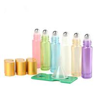 frascos de vidro rolado venda por atacado-10 ml Vazio de Vidro Âmbar Essencial Rolo De óleo Em Frascos de frascos com bola de rolo de metal para perfume ferramenta de aromaterapia F2280