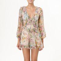 ingrosso mini vestito di estate delle donne-Summer Print Playsuit per donna V Neck Lantern Sleeve a vita alta Bandage Mini Shorts Donna Moda 2019 Novità