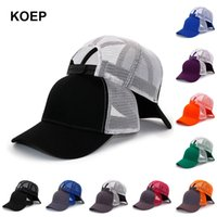 Wholesale caps for trucks for sale - Group buy KOEP New Type Casual Solid Cotton Truck Cap For Women Men Black White Summer Baseball Cap Cool Mesh Snapback Dad Hats Free GeZTV