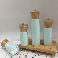 grüne schleifer groihandel-Pfeffermühle Salzmühle Hand Holz grüne Farbe 5 6 8-Zoll-Mühle Grinder Hand Küche BBQ Werkzeuge KKA7553