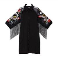 club lindo vestidos mangas al por mayor-2019 Mujeres Negro camisa de vestir de mangas 3/4 Malla Con F241 bordado flecos Señora Tamaño más linda Midi partido del club de los vestidos VESTIDOS