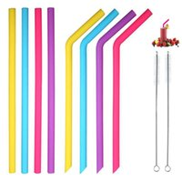 paillettes achat en gros de-Le silicone réutilisable paille de longues pailles flexibles avec des brosses de nettoyage pour la barre d