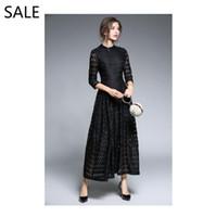 jährliche abendkleider großhandel-Frauen Abend Meerjungfrau Kleid Elegantes Schwarzes Kleid Langarm Haute Douture Rundhalsausschnitt Jährliche Dinner-Party Kleid Formale Besondere Anlässe