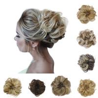 ingrosso accessori per capelli di updo-Synthetic Chignons Hair Scrunchies Extensions Hairpiece Wrap Coda di cavallo Coda di capelli Updo Fake Hair Bun Hairpiece Accessories