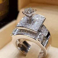 conjuntos de alianças de zircon venda por atacado-Moda Europeia Incrustada Completa Anéis de Noivado de Zircão para As Mulheres de Luxo Rainha Princesa Anéis Set Wedding Anniversary Jewelry Anel