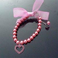 bow fashion necklace venda por atacado-Pequeno Cão Pérola Necklet Peach Heart Pattern Colar Bow Design Pingente Jóias Pet Azul Roxo Moda Portátil 4 9mp C1