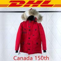 ingrosso rosso inverno parka-Canada goose Top Quality Canada 150 ° Anniversario del cappotto rivestimento di marca giù parka Donne inverno degli uomini del progettista Rosso Nero Bianco XS-2XL