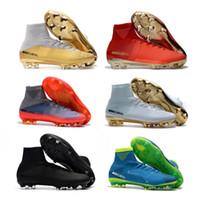 futbol ayakkabıları cristiano ronaldo toptan satış-2019 Yeni Beyaz Altın CR7 Futbol Cleats Mercurial Superfly FG V Çocuklar Futbol Ayakkabıları Cristiano Ronaldo