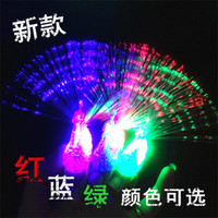 Wholesale peacocks decorations for sale - Group buy Lamp Discoloration Peacock Open Screen Optical Fiber Finger Lamps Children Gift Toys Luminescence Led Light Factory Direct Selling dc p