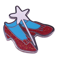 Wholesale wedding shoe brooches for sale - Group buy Gorgeous vintage sparkly Ruby slippers lapel pin Wizard of Oz Dorothy shoes and wand brooch fans addition
