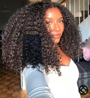 Wholesale virgin wig afro curly for sale - Group buy Afro Kinky Curly Lace Front Wig Short Bob Human Hair Wigs Density Mongolian Frontal Wig Virgin B C