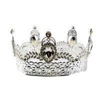 coronas redondas para novias al por mayor-Novia barroca corona tiara cristal novia ronda diadema boda tiara corona completa accesorios de boda (plata)