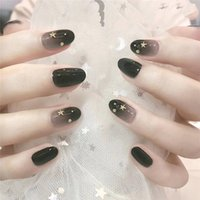 Wholesale black tips nails resale online - Black Gradual Change the Moon and the Stars Fake Piece False Acrylic Nail Tips Extension Finger Tools Manicure Nail Art