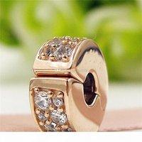 Wholesale pandora gold resale online - Rose Gold plated Shining Elegance Clip Charm Bead with Clear Cz Fits European Pandora Jewelry Bracelets Necklaces Necklaces Pendants