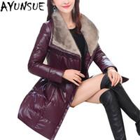 Wholesale pu pads resale online - Leather Jacket For Women Winter Long Parka Female Down Cotton Padded Coat Outwear Plus Size XL haqueta cuero mujer LX2319